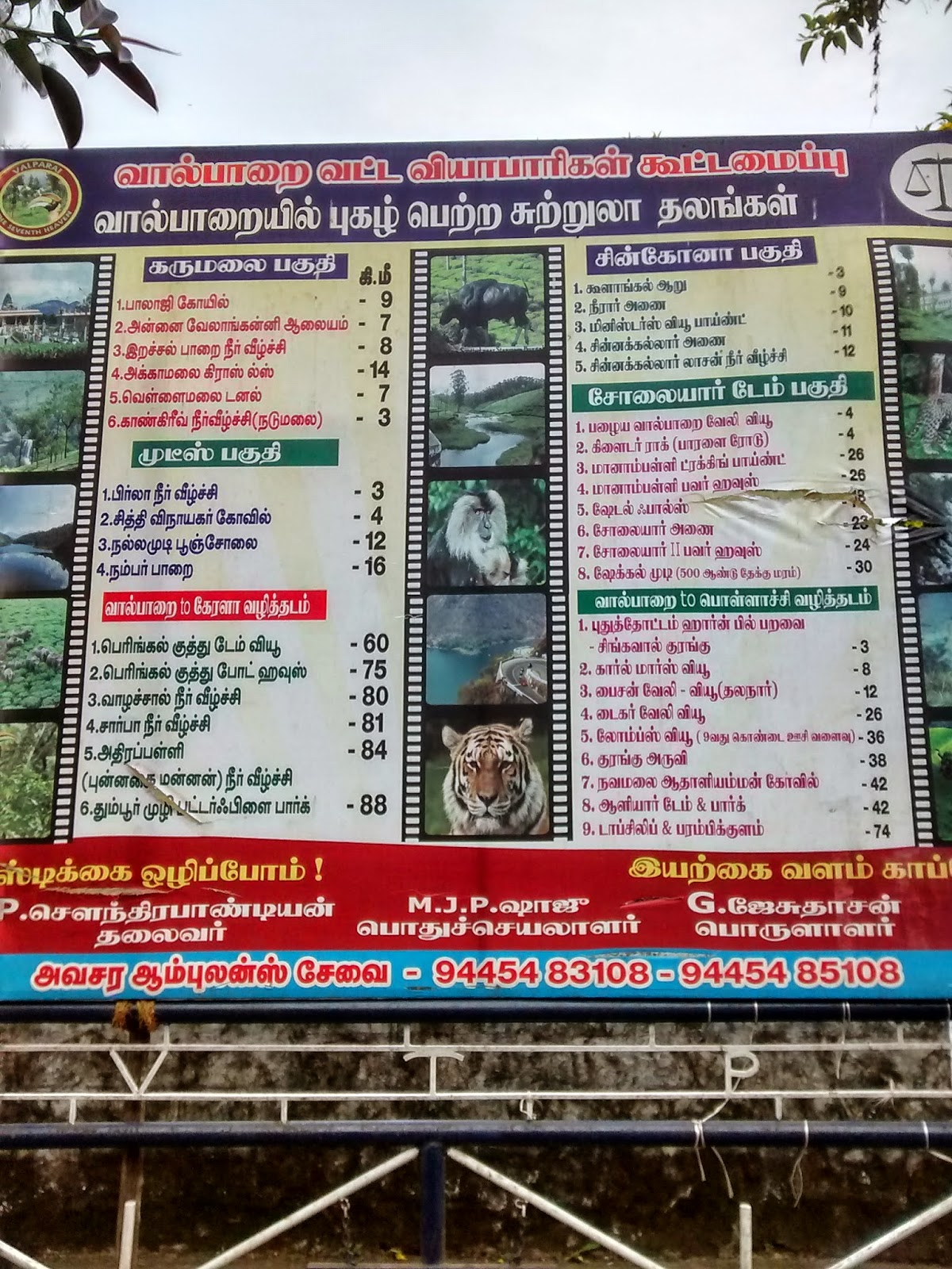 Banner showing places to visit in Valparai