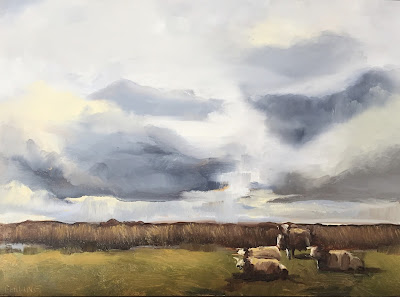 Sheep resting under a grey sky.  Daily oil painting by Philine van der Vegte
