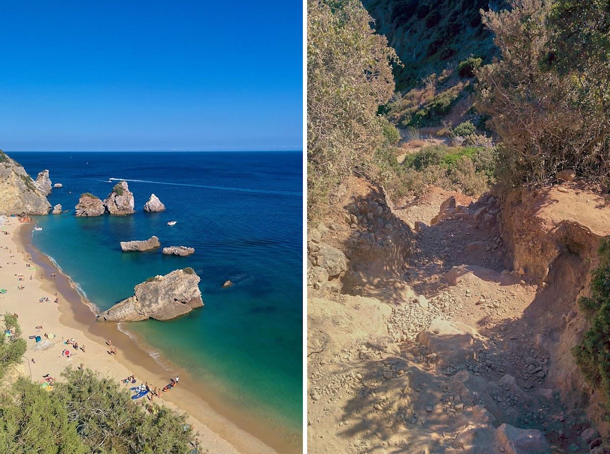 Vista sobre a praia do Ribeiro do Cavalo e pormenor do caminho de acesso