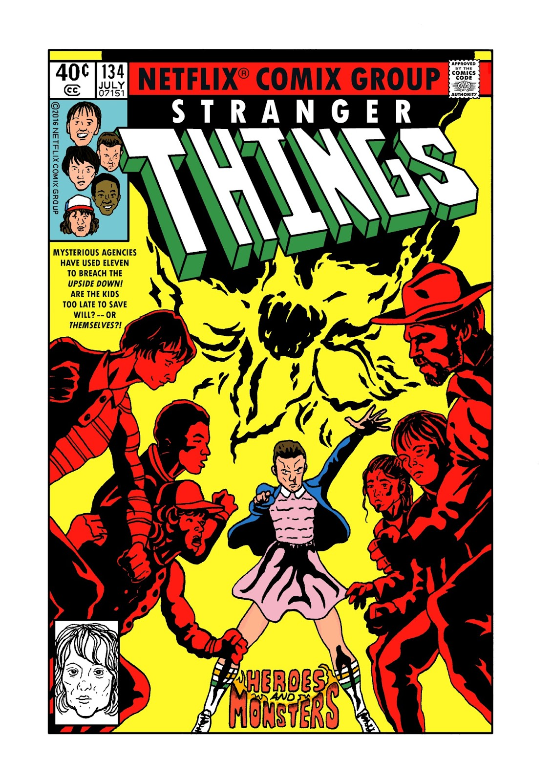 STRANGER THINGS - X-MEN 134 Recreated Cover