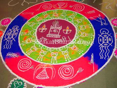 Rangoli Designs with Themes - Sanskar Bharti Rangoli