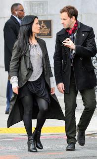 Jonny Lee Miller and Lucy Liu as Sherlock Holmes and Joan Watson in CBS Elementary