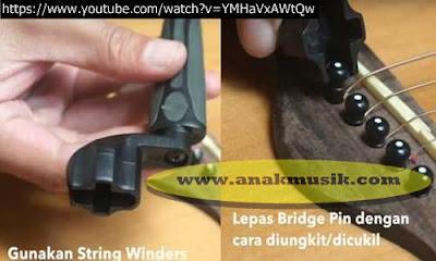Membuka Bridge Pin Gitar Akustik Menggunakan PEG WINDER atau STRING WINDER