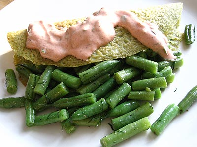 Savory Rice and Split Pea Pancakes with Buttery Green Beans and Tomato-Cilantro Sauce