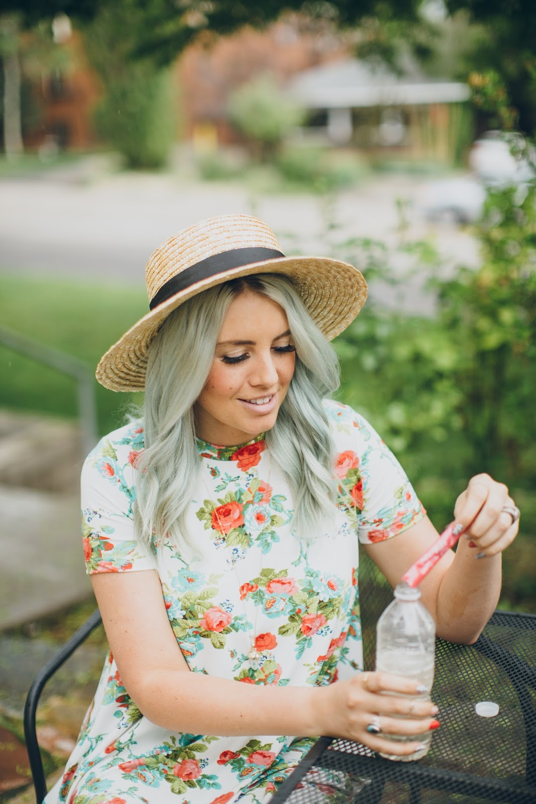 Mint Hair, Floral dress, Vida Glow