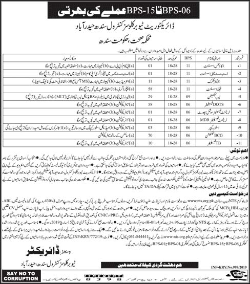 NTS Jobs in Directorate Tuberculosis Control Sindh March 2019