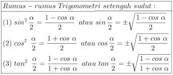 Rumus Trigonometri Setengah Sudut