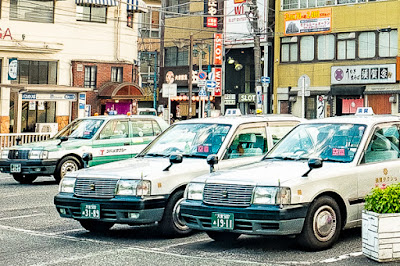 Taxis in Tokyo.