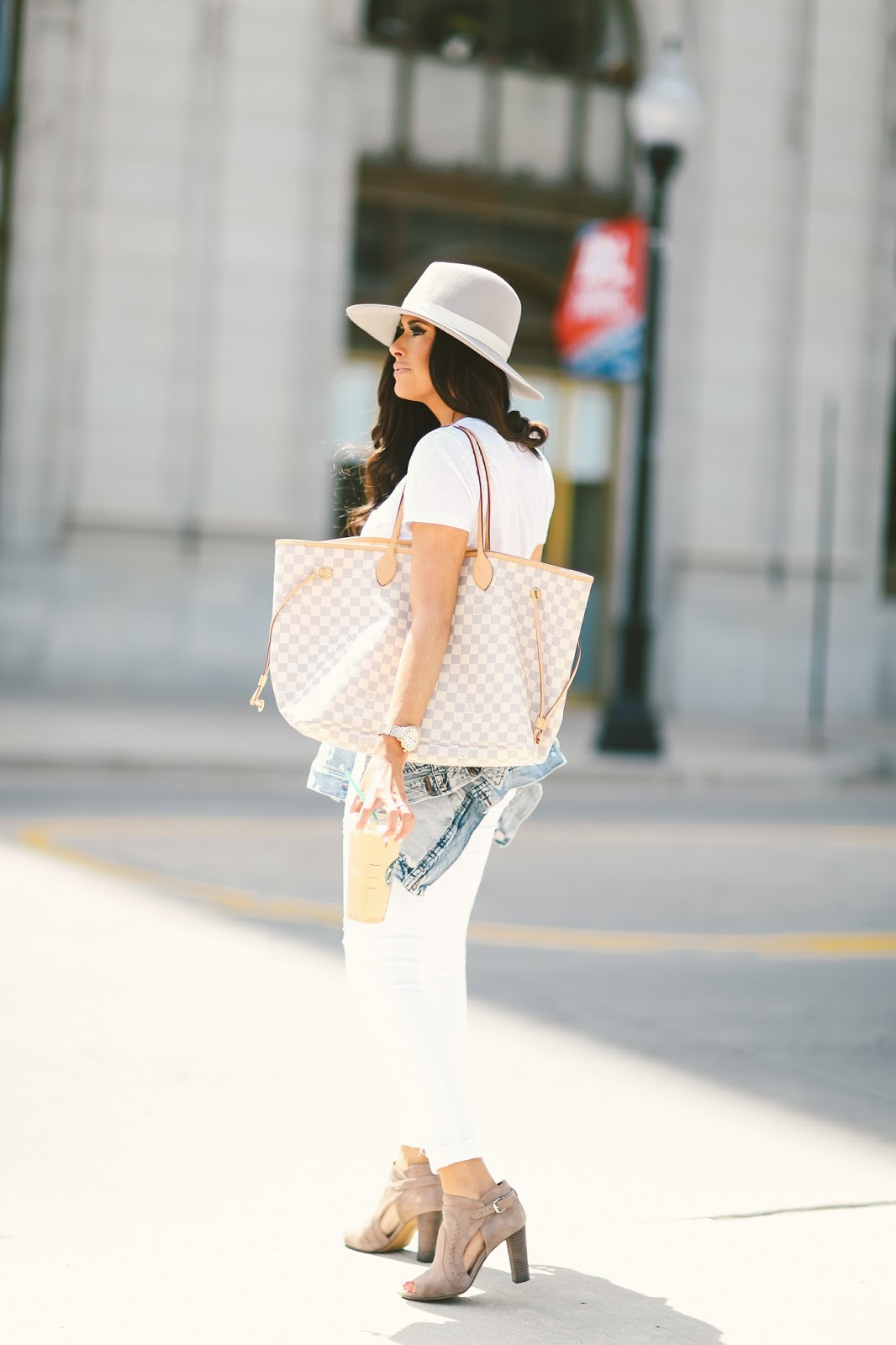 all white outfits for spring and summer, louis vuitton neverful damier azur, j brand white distressed denim, white tee made well, janessa leone grey hat, summer fashion pinterest, spring fashion pinterest, outfit idea summer pinterest, tulsa fashion blogger, downtown tulsa, vince camuto conley bootie, michele Serein watch 18mm, david yurman bracelet stack, emily gemma, the sweetest thing blog,