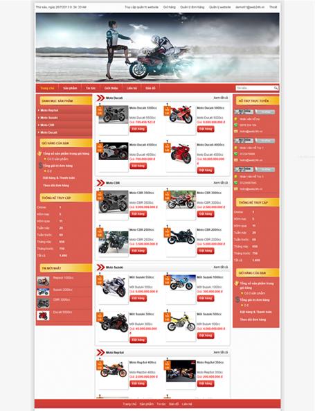 dịch vụ thiết kế website bán hàng xe máy