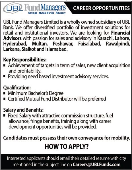 Jobs in UBL Fund Managers UBL Bank Jobs