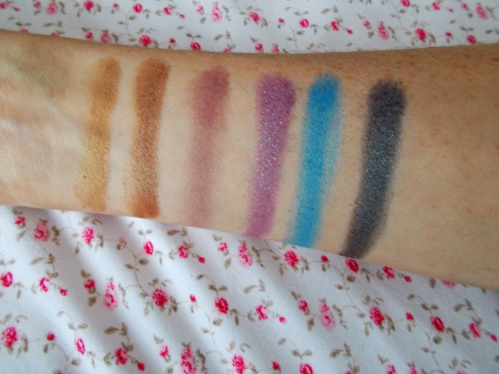 Beauty Success Palette coloured eyeshadow swatches