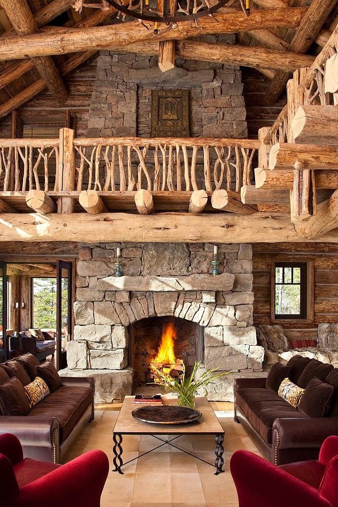 Niesamowity dom z bali w Montanie, wystrój wnętrz, wnętrza, urządzanie domu, dekoracje wnętrz, aranżacja wnętrz, inspiracje wnętrz,interior design , dom i wnętrze, aranżacja mieszkania, modne wnętrza, styl klasyczny, styl rustykalny, dom drewniany, chata w górach, salon, kominek
