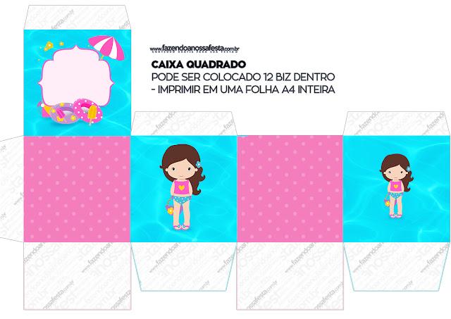 Cajas Cubo de Fiesta en la Piscina para Niña Morena para imprimir gratis.