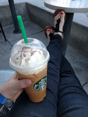 Iced pumpkin spice latte at Starbucks