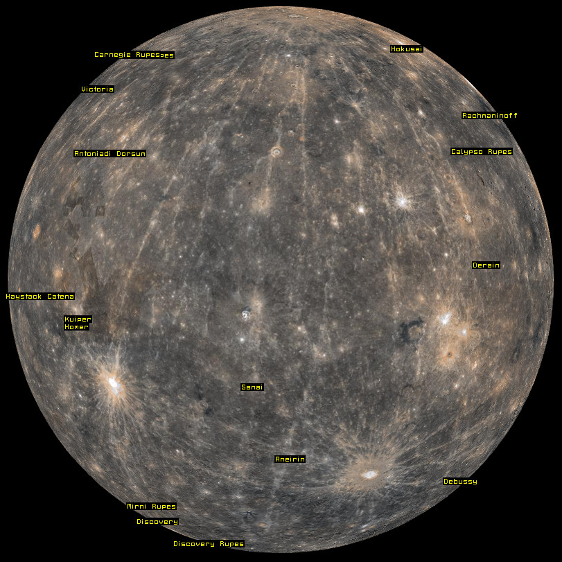3D map of planet Mercury