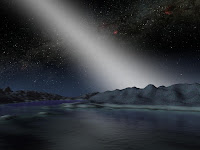Artist's impression of the view of the Zodiacal Light from hypothetical planet around star HD 69830