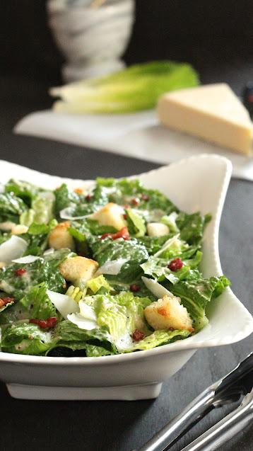 Roasted Black Pepper Caesar Salad with Pancetta