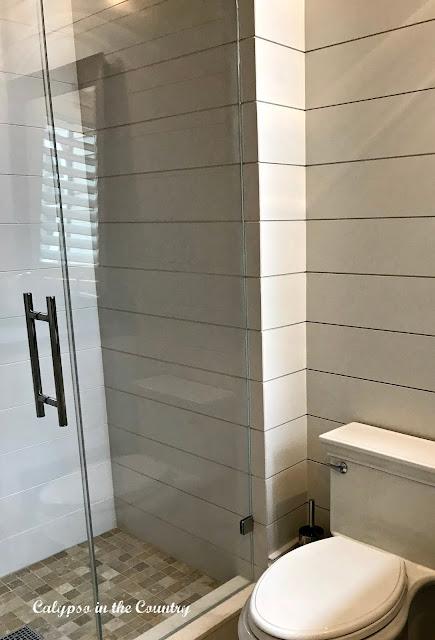 Shiplap tile in the bathroom
