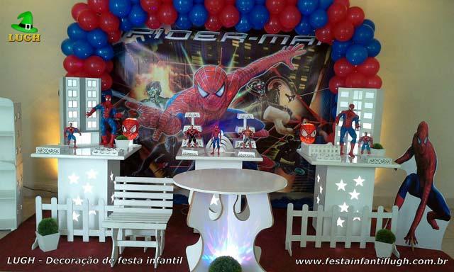Decoração de mesa de aniversário infantil tema Homem Aranha - Jacarepaguá RJ