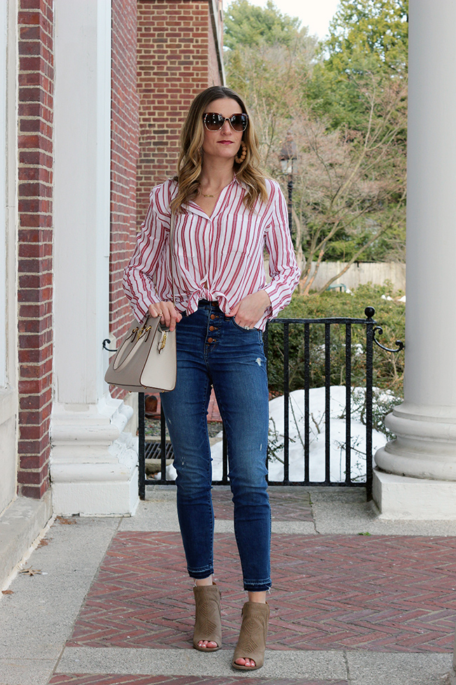 Striped Button Down Shirt #springtops