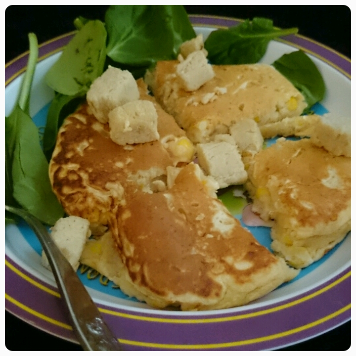 chicken, seetcorn and cheese savoury pancakes