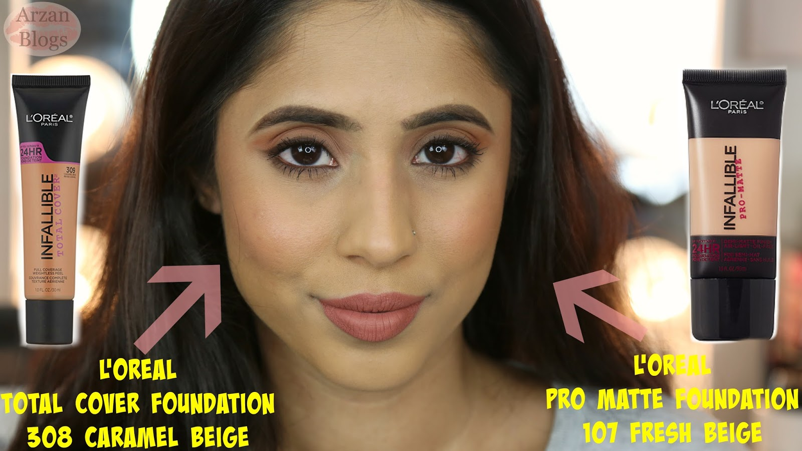 Beauty Loral Infallible Total Cover Foundation Swatches Demo Loreal Pro Matte 24hr Heres How Each Of The Looks Shade 309 Caramel Beige Is Same As 107 Fresh