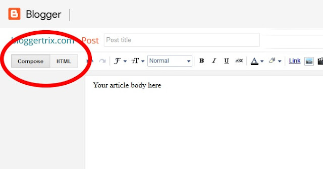 write blogger post body