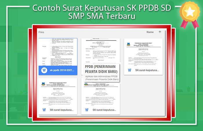 Contoh Surat Keputusan SK PPDB SD SMP SMA Terbaru