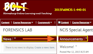 a screenshot showing the upcoming change in May to Announcements from News on the course homepage