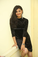 Mounika in a velvet short black dress for Tick Tack Movie Press Meet March 2017 076.JPG
