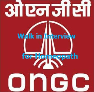 Walk in Interview for Homeopaths at ONGC Vadodara