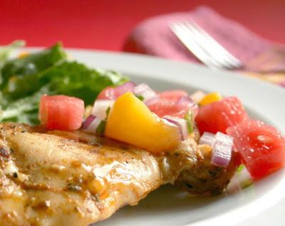 Marinated Grilled Chicken With Watermelon Salsa