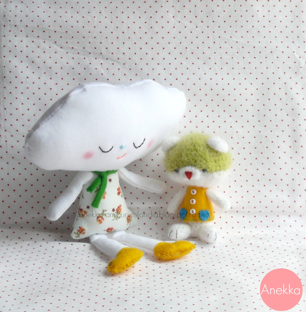 Handmade doll cloud and little teddy bear