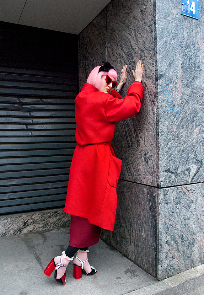 M.Luna, red coat, Saint Laurent