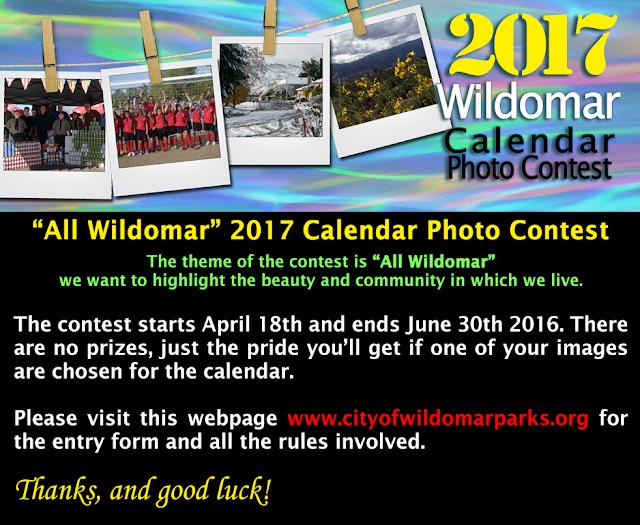 Calendar Photography Contest : Wildomar rap calendar photo contest