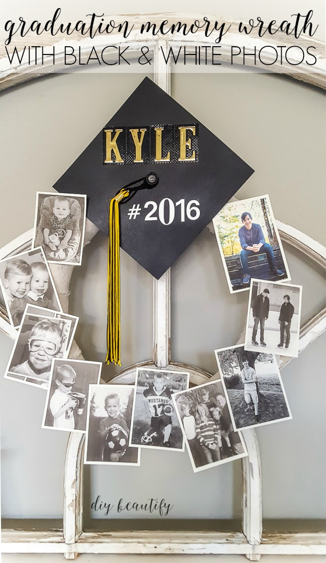 black and white graduation memory wreath