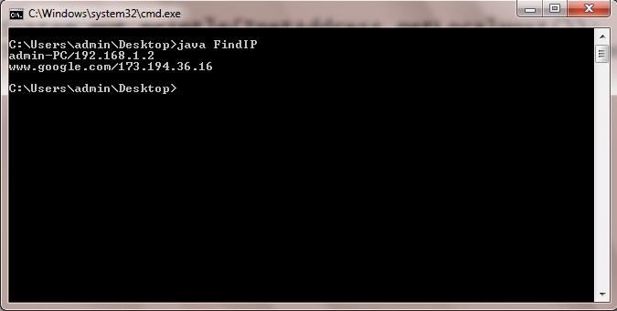 Java Program to Find IP Address