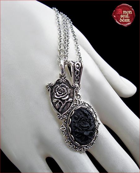 collier gothique médiéval collier rose noire collier victorien collier camée