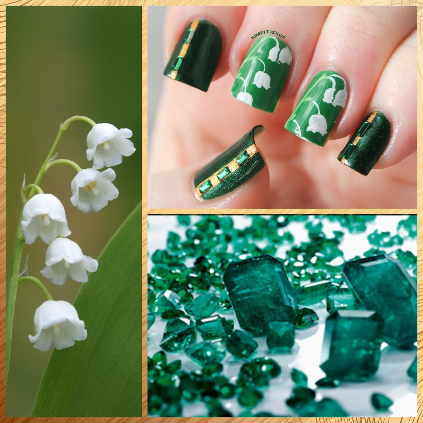 Emerald and Lily of the Valley March Nail Art Design by KimettKolor