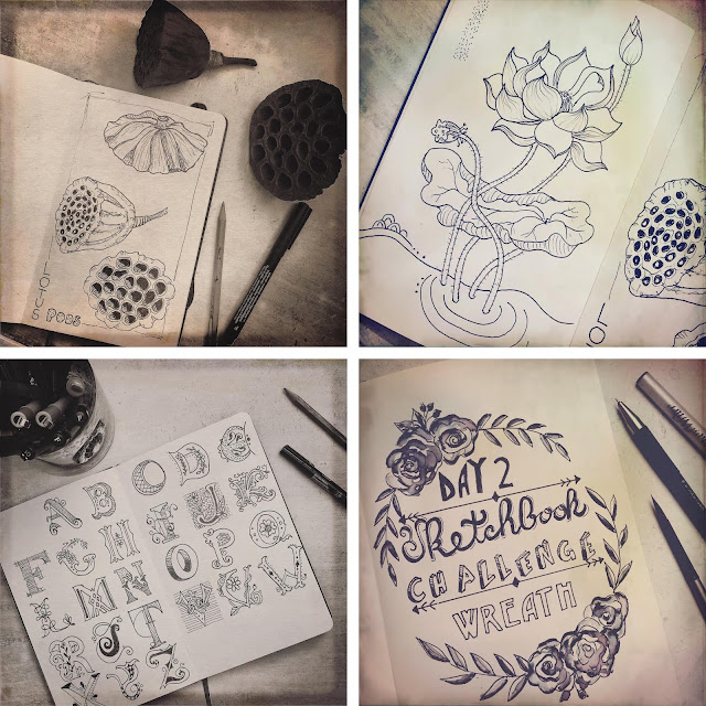 Sketchbook Challenge, ink work, art journal