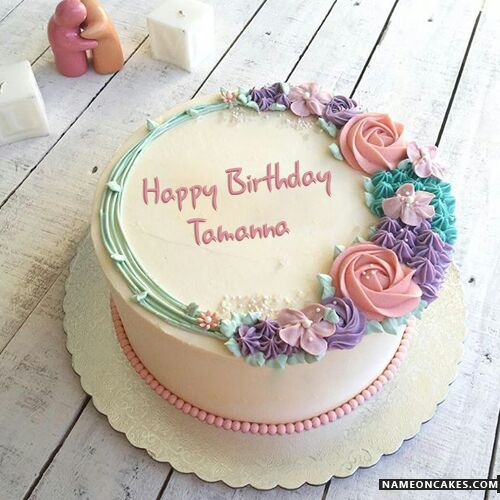 Pretty Vanilla Round Shape Birthday Cake Happy Birthday Tamanna