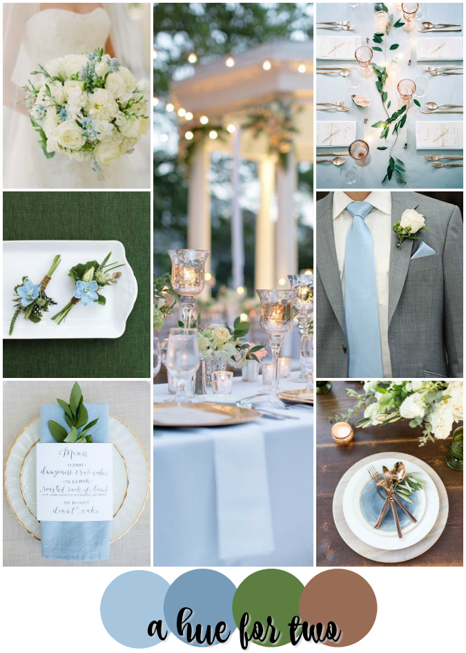 Light Blue, Green and Copper Classy Wedding Colour Scheme | A Hue ...