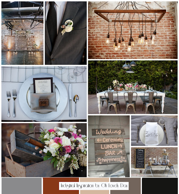 Inspiration Board Modern Rustic Industrial Wedding Oh