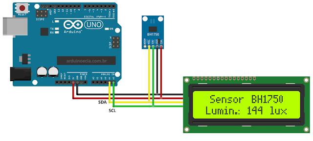 Circuito Arduino e Sensor de lux BH1750