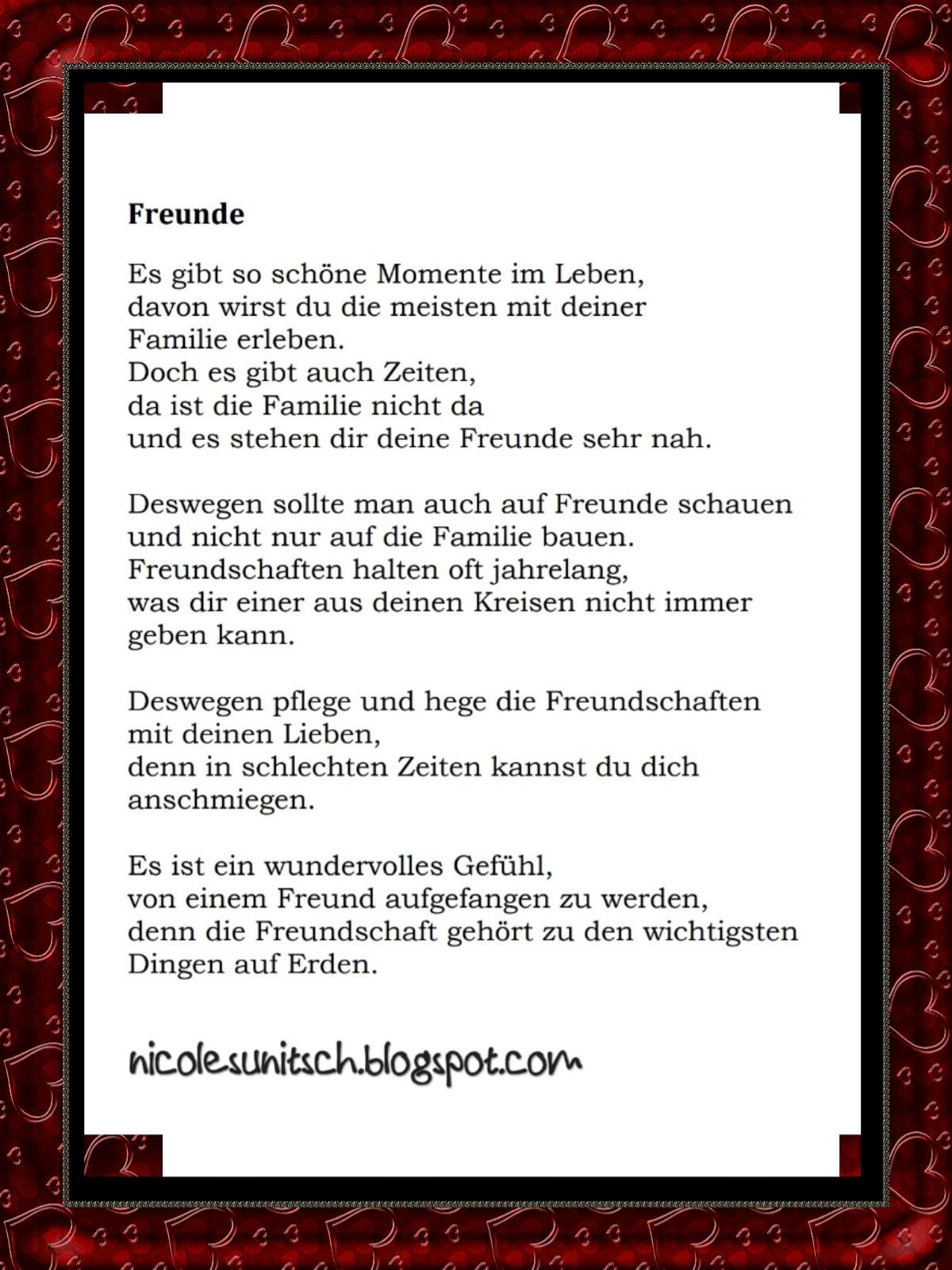Gedichte Von Nicole Sunitsch Autorin Gedicht Freunde Aus Dem
