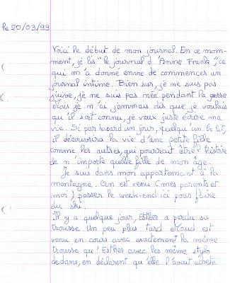 début journal intime manuscrit