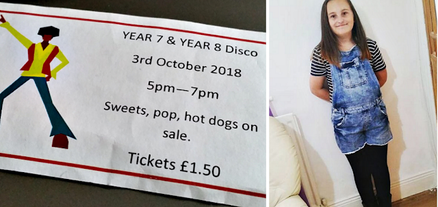 a ticket for the school disco and my youngest dressed up for the disco