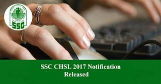 SSC CHSL 2017 Recruitment Notification