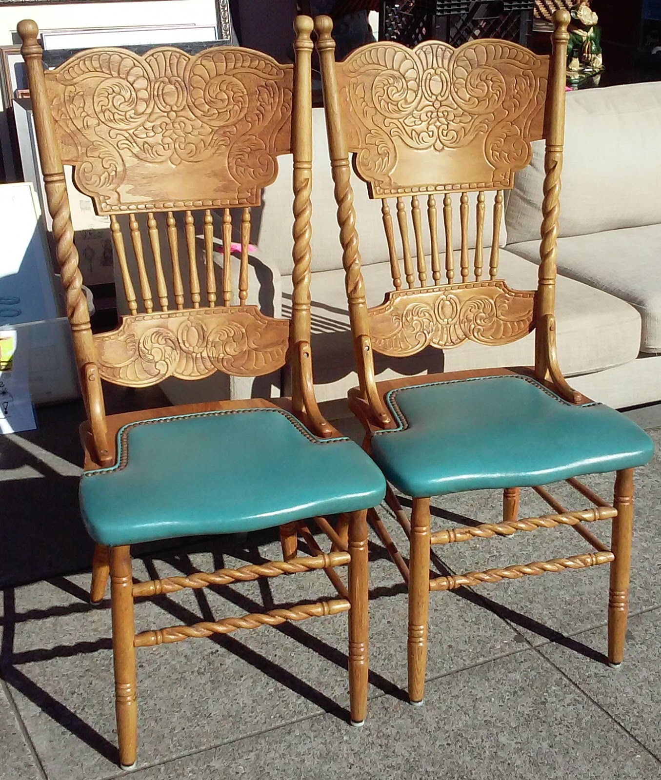 Pressed Back Dining Chairs ~ Uhuru furniture collectibles sold pair of oak pressed